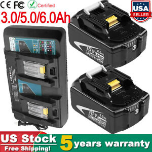 For Makita 18V 6.0Ah LXT Lithium ion Battery or Charger BL1860 BL1830 BL1850 US