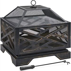 26in Square Wood Burning Fire Pit Deep Firepirts with Spark Screen for Backyard $117.99