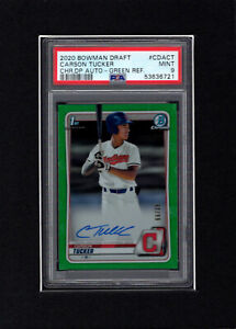 2020 BOWMAN CHROME GREEN REFRACTOR CARSON TUCKER AUTO 99 INDIANS PSA 9 MINT $199.99