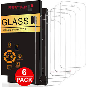 6 PACK For iPhone 12 11 Pro Max XR X XS 8 7 Plus Tempered GLASS Screen Protector $7.49