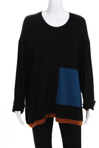 Christopher Calvin Womens Long Sleeve Colorblock Pullover Top Black Size 1X $54.99