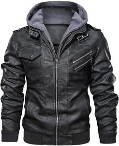 Casual Stand Collar Leather Zip Up Biker Fashion Bomber Jacket removable Hood