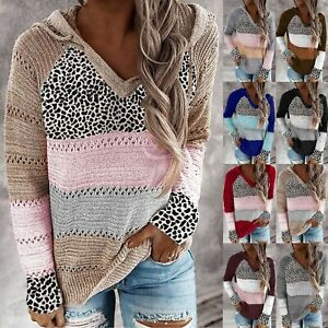 V neck Long Sleeves Sweater Tops Winter Clothes Women Patchwork Top $35.14