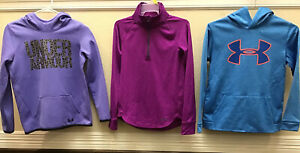 Lot 3 Girls UNDER ARMOUR hoodie Pull Over YLG Large Storm Cold Gear Active Now $32.00