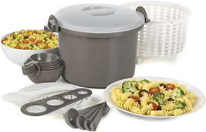 Microwaveable Rice and Pasta Cooker 17 Piece Includes Measuring Spoons and Cups