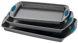 Rachael Ray Bakeware Nonstick Cookie Pan Set 3 Piece Gray with Marine Blue
