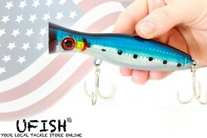 UFISH Large 5quot; Bass Popper Lure Fresh amp; Saltwater Top water lures Pike Musky