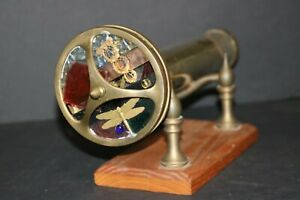 CORKI WEEKS BRASS 2 4quot; WHEELS w 2 MIRROR SYSTEMS KALEIDOSCOPE and BRASS HOLDER