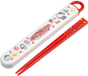 JAPAN Sanrio Hello Kitty Red White Chopsticks Chopstick Box Case Set Skater