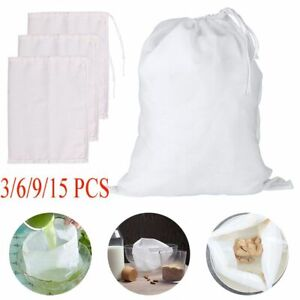 15X Reusable Fine Mesh Cotton Nut Milk Cheese Cloth Bag Cold Brew Coffee Filter