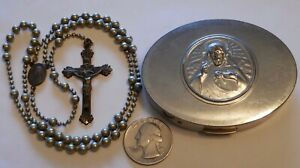 Antique Military Pull Chain Rosary WW1 WW2 with Metal Case $224.00