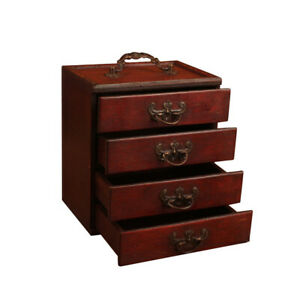 Portable Handmade Antique For Women 4 Drawers Wooden Jewelry Box Large Capacity