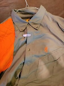 Men#x27;s Browning Right Hand Shoot Shirt Long Sleeve 2XL Tan Orange $11.99