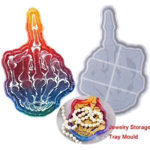 DIY Epoxy Resin Silicone Molds Skull Finger Tray Mould Casting Making Craft