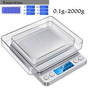 Digital Scale 2000g x 0.1g Kithchen Jewelry Silver Coin Gram Pocket Size Trays