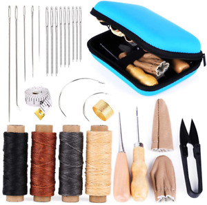 Leather Sewing Kit Working Tools Supplies Large Eye Stitching Needles Waxed New $15.16