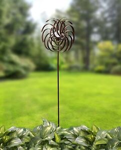 Solar Powered Garden Spinner Double Spiral Wind Sculpture for Yards and Patios