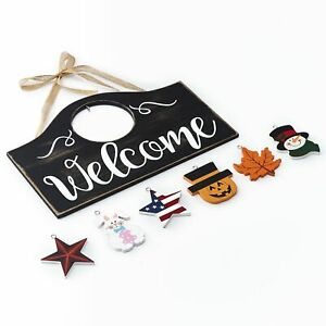Wall Hanging Welcome Sign with 6 Interchangeable Seasonal Icons $17.98