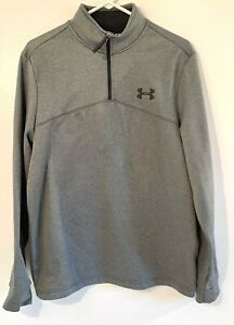 Under Armour Cold Gear Loose Mens Medium Gray Black 1 4 Zip Pullover Shirt $20.00