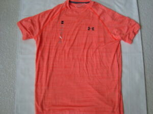Under Armour Heat Gear Orange Short Sleeve T Shirt Size Loose Medium NWT $15.00