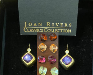 Joan Rivers Earring 5 pr interchangeable yellow gold multi color crystal box NWT $25.99