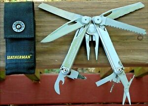 Excellent 2014 LEATHERMAN WAVE Multi Tool Leather Sheath Camping Fishing Hiking