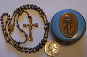 Antique Military Pull Chain Rosary WW1 WW2 with Case $164.00