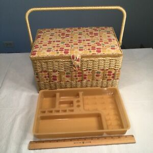 🔴Vintage Sewing Basket Box Large Woven Plastic Wicker w Tray Mid Century MCM $70.00
