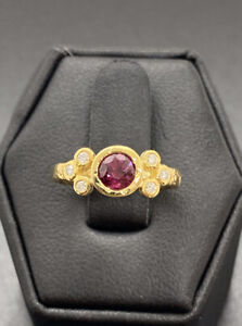 Estate 18K Yellow Gold Round Ruby amp; Diamond Ring Hammered Finish Size 4 1 2