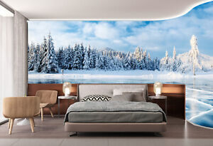 Forest Covered with White Snow Self adhesive Backgroud Murals Wallpaper Decals