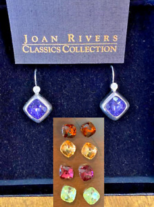 Joan Rivers Earring 5 pr interchangeable white gold multi color crystal box NWT $25.99