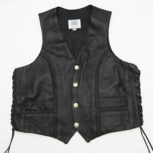 Fox Creek Mens Black Braided Motorcycle Vest with Buffalo Nickels Buttons Sz 48 $175.00