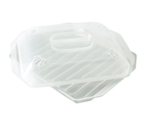 Microwave Bacon Grill Cooker Cookware Tray Rack Pan Cover Kitchen White