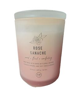 DW Home Candle 2 Wick ROSE GANACHE Sweet Floral Comforting Scented 15.4 oz