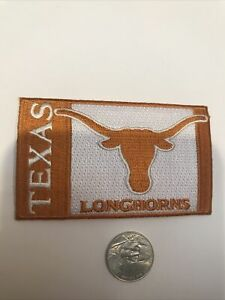 """Texas Longhorns Vintage Embroidered Iron On Patch 4"""" X 1"""""""