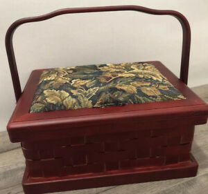 Vintage Wooden Sewing Box Red Stained Wood w Handle Pincushion Organizing Tray $30.00
