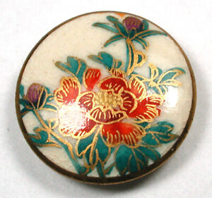 Vintage Satsuma Ceramic Button Hand Painted Flowers with Gold Accents 15 16