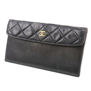 CHANEL CC Logos Quilted Bill Case Black Lambskin Leather Vintage Auth #SS978 Y $299.00