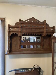 Antique Wooden Hand Carved Shelf With Mirror $125.00