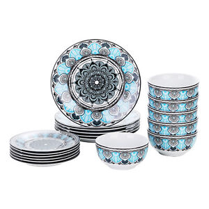 VEWEET Audrie 18 Piece Dinnerware Set Porcelain Kitchen Bowl Plate Set for 6 $67.44