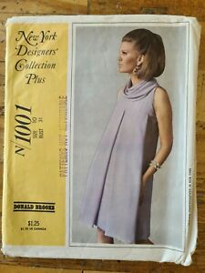 McCall#x27;s Donald Brooks Vintage Sewing Pattern 1001 1967 Size 10 Bust 31quot; $4.99