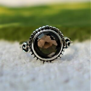 FACETED SMOKY TOPAZ GEMSTONE 925 STERLING SILVER HANDMADE JEWELERY RING 3 TO 12 $23.79