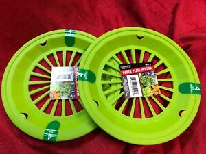 8 pc Green Paper Plate Holders Rigid Plastic Washable Picnic BBQ Cookout