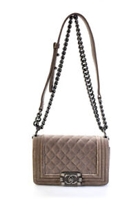 Chanel Womens Velvet Quilted Small Boy Bag Beige Small $2800.00