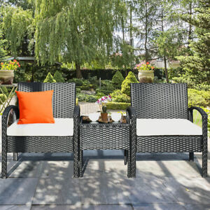 Costway 3Pcs Patio Rattan Furniture Set Table Chairs Set With Seat Cushions