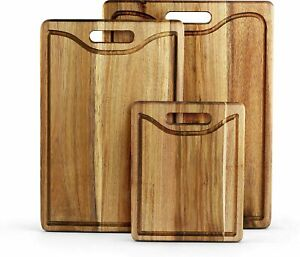 Acacia Wood Cutting Board set 3 For Kitchen With Juice Canal