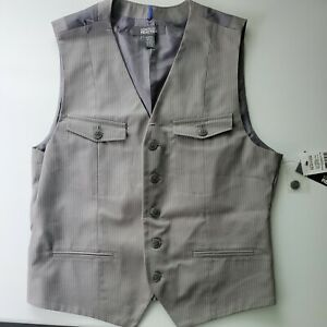 NWT Kenneth Cole Reaction Medium Men#x27;s Youth Vest Gray Stripped