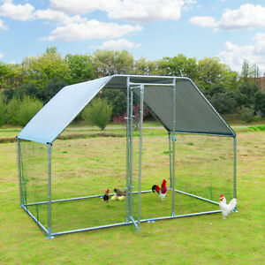 Large Metal Chicken Coop Walk in Poultry Cage Hen Run House Rabbits Habitat Cage $269.99
