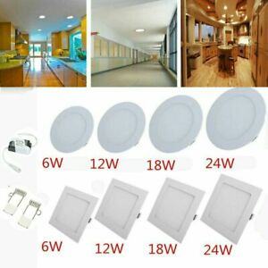 Round Square LED Ceiling Down Spot Light 2 Pack Recessed Flat Panel Light Lamp