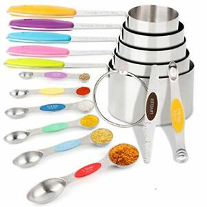 Measuring Spoons and Cups Set 13 Piece 5 Stainless Steel Dry Measuring Cups